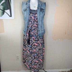 Lucky Brand Boho Floral Crocheted Neckline Dress